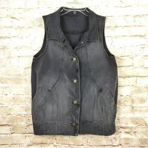 Current Elliott The Slouch Vest Button Faded Black